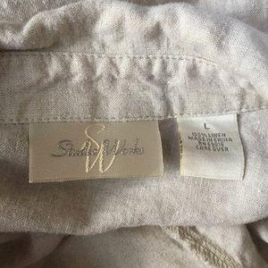 Vintage Tops - Vintage 100% Linen Button Down Blouse